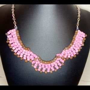 Handmade Glass Bead Bib Necklace Pink Brown Silver